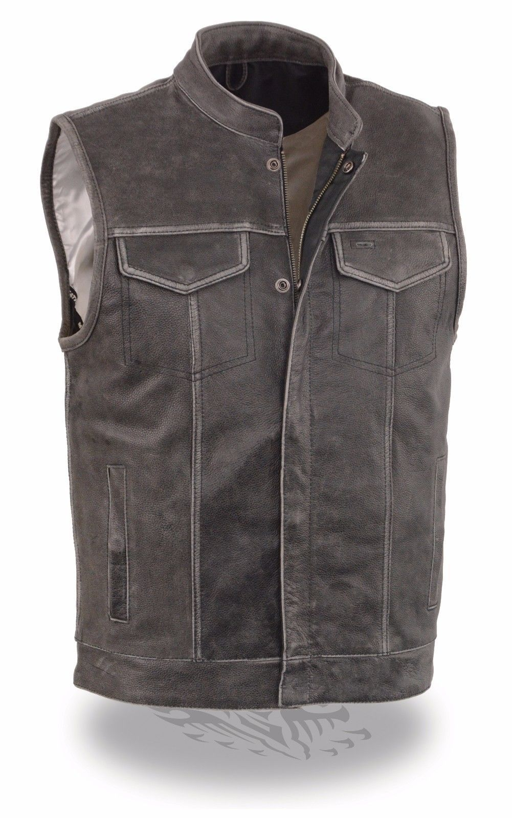 MEN'S DISTRESSED GREY MOTORCYCLE SON OF ANARCHY STYLE LEATHER VEST W/GUN POCKETS