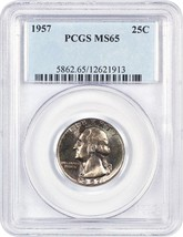 1957 25c PCGS MS65 - Washington Quarter - $29.10