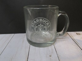 Starbucks Glass Coffee Mug White Mermaid Logo One Side Clear Cup Made in... - $18.80