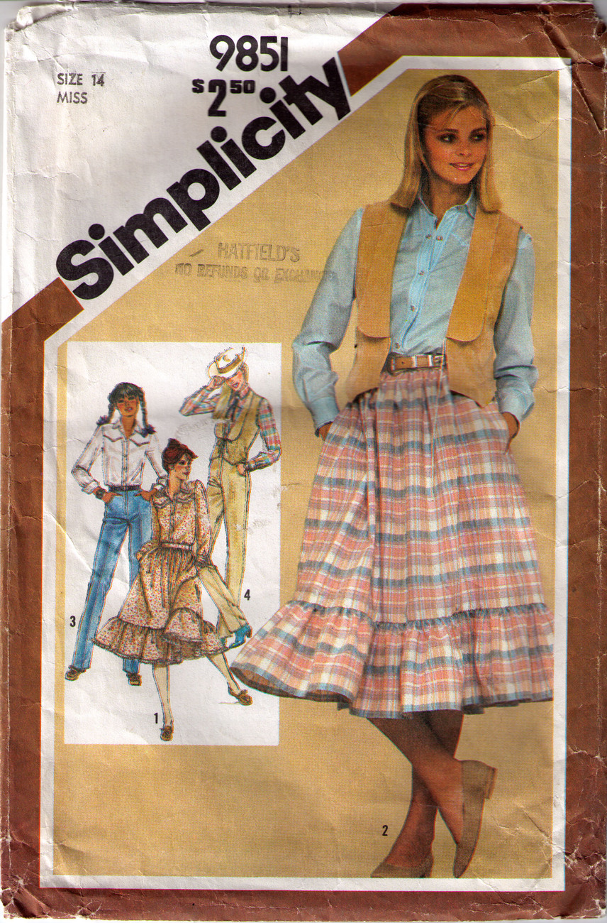 1980 SKIRT-PANTS,SHIRT & VEST Pattern 9851-s Size 14