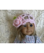 Handmade Crocheted 70's Style Hat wtih Pink Rose  fits most 18 inch Doll... - $6.00