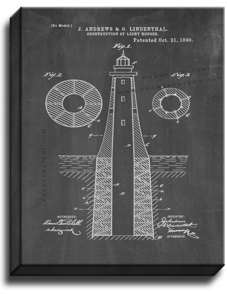 Primary image for Lighthouse Patent Print Chalkboard on Canvas