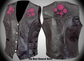 Womens Ladies Black Leather Vest with Rose Biker Motorcycle Fashion LARGE - $18.98