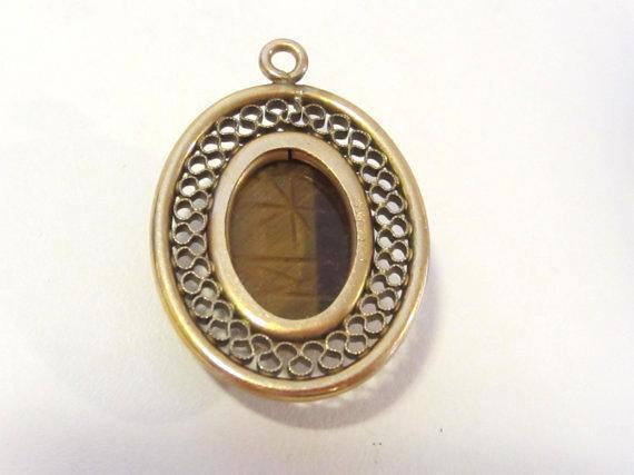 Vintage A & Z gold filled Carved Tiger's eye pendant