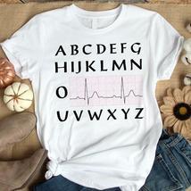 Nurse Heartbeat Alphabet Tshirt Women White - $20.00+