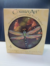 CounterArt Dragonfly Design Round Absorbent Coasters in Wooden Holder, S... - $10.99