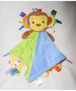 Taggies Monkey Baby Security Blanket Lovey Yellow Blue Green Textured Ri... - $24.73