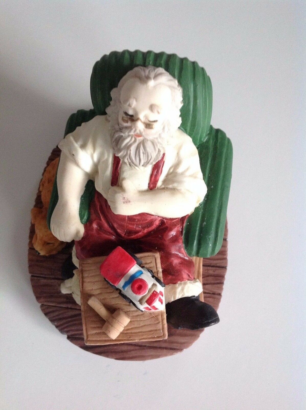 Primary image for Sleeping Relaxing Santa in His Chair Making Toys With his Dog Beside his Chair