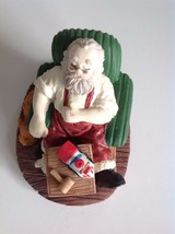 Sleeping Relaxing Santa in His Chair Making Toys With his Dog Beside his... - $19.79