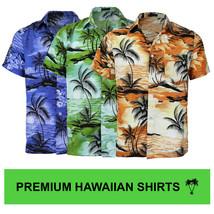 Men's Hawaiian Tropical Luau Aloha Beach Party Button Up Casual Dress Shirt image 1