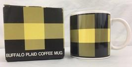 Studio Nova Buffalo Plaid Mug Scottish Highland Tartan Yellow Black Bumblebee - $12.82