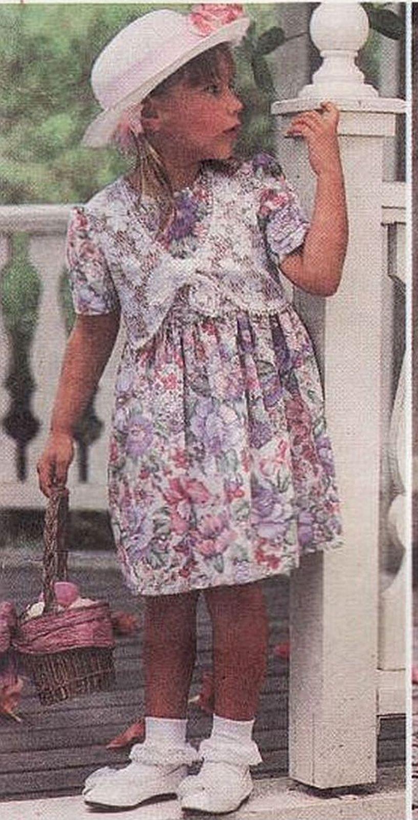 Childs Party Christmas Easter Full Skirt Raised Waistline Dress Sew Pattern 3-6