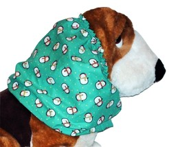 Green Holiday Penguins In Scarves Cotton Dog Snood Size Large - $12.50