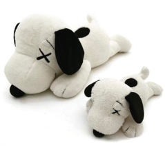 KAWS x PEANUTS x UNIQLO SNOOPY PLUSH TOY SET OF 2 - SMALL & LARGE - IN HAND - $148.88