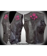 Womens Ladies Black Leather Vest with Rose Biker Motorcycle Fashion 5XL ... - $21.98