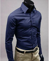 Men's Kesimo Slim Tailored Fit Long Sleeve Wrinkle Resistant Navy Dress Shirt image 2