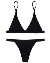 X-HERR Women Triangle Top Thong Bikini Swimsuit Bathing Suit Black,M - $16.88