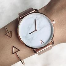 Brand Creative Mesh Band Marble Quartz Watch Casual Women Stainless Stee... - $28.40