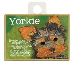 Yorkie Lively Spunky Inquisitive Cute Wood Fridge Kitchen Dog Magnet 2.5... - $5.86