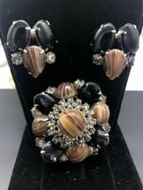 Vintage Art Glass Rhinestone Pin Brooch Clip Earring Set - $86.98