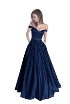 Off The Shoulder Beaded Long Prom Dresses Satin Evening Prom Dress With Pocket - $118.78
