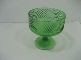 Vintage Green Glass On Pedestal Candy Nut Dish Display Piece Centerpiece... - $11.26