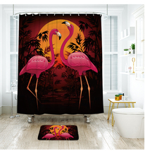 Cute Flamingo 38 Shower Curtain Waterproof Polyester Fabric & Bath Mat For Bathr - $15.30+