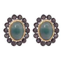 7X5 Cab Green Onyx With Diamond 925 Sterling Silver Stud Earring - $30.98