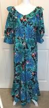 Vtg Hilo Hattie Hawaiian Floral 100% Cotton Blue Ruffle Long Maxi Dress ... - $34.95
