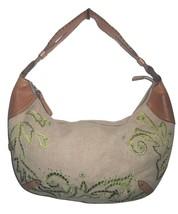 Cole Haan Tan Linen Leather Green Embroidered Shoulder Bag Hobo Purse Summer - $89.75