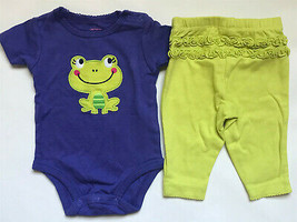 Girl's Size 3M 0-3 Months Two Piece Carter's Purple Frog Top & Green Leggings - $15.00