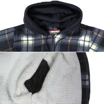 Men's Heavyweight Flannel Zip Up Fleece Lined Plaid Sherpa Hoodie Jacket image 10