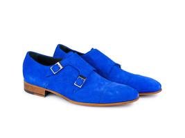 Handmade Mens Fashion Suede leather Monk Shoes classic Men Blue Party Shoes - $164.99