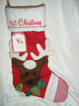 Pottery Barn Christmas Quilted Stocking Reindeer 1st Christmas Brand New - $17.99