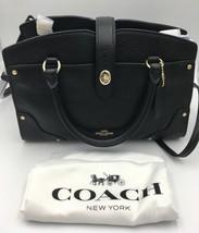 NWT Coach 37779 Mercer Satchel 24 Black Grain Leather Crossbody Bag w/ D... - ₹12,108.68 INR