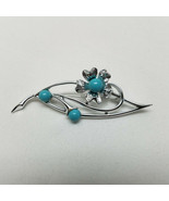 """Sara Coventry Silver Tone With Faux Turquoise Brooch 2 1/2"""" L - $18.80"""