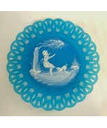 Mary Gregory Blue Satin Westmoreland Plate w/ Girl Swinging, Signed L Pl... - $17.80