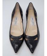 JIMMY CHOO black leather snakeskin heels pointed toe pumps 41 - $95.00
