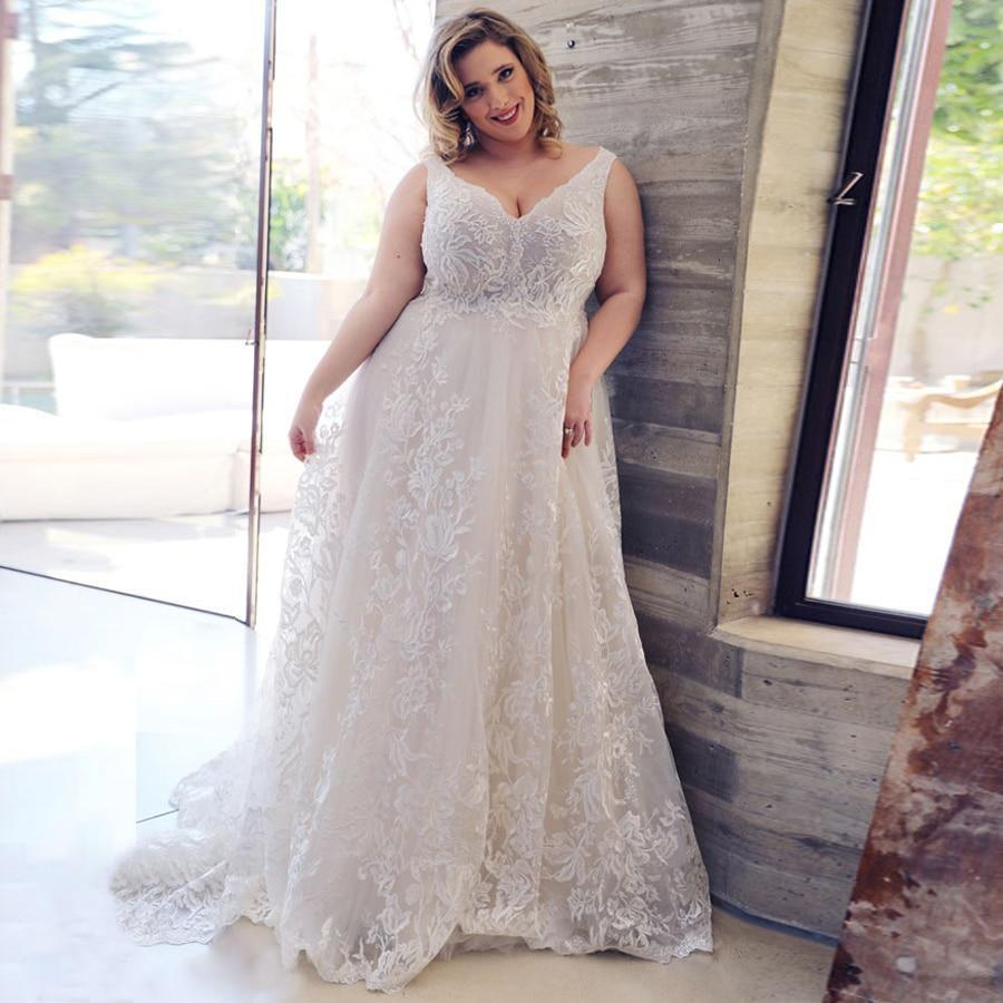Exy plus size lace wedding dresses deep v neck sleeveless applique tulle wedding gowns for bride