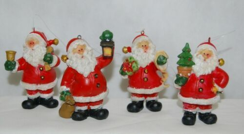 Generic 4 Different Santa Christmas Ornament Set 3 Inches