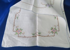 "Cross Stitched Tablecloth For a Card Table 32"" x 33"" - $16.00"