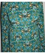 Teal Black Beige Exotic Print Polyester Lycra Stretch Fabric 1 Yard 18 I... - $40.00