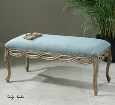 """NEW 46"""" VINTAGE BRONZE NAIL HEAD CARVED SOLID WOOD BLUE CUSHIONED BENCH - £499.27 GBP"""
