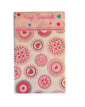 """Vinyl Tablecloth Hearts Love Flannel Backed 60""""Rd 52x90"""" NEW Shower Wed... - €16,01 EUR+"""