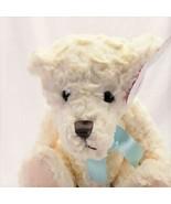 Cream Teddy Bear Stuffed Animal Plush w/ Teal Ribbon - $13.65