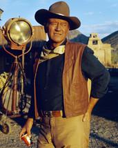 John Wayne in El Dorado on movie set by camera western clothes stetson classi - $69.99