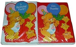 Set of 8 Vintage Care Bear Birthday Party Invitations & 8 Thank You Cards - $18.77