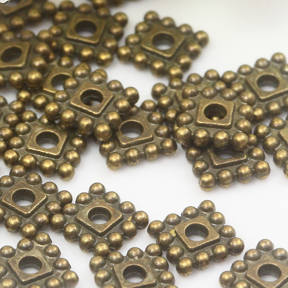 24 Antiqued Brass Plated Pewter 6x2mm Daisy Spacer Rondelle Beads