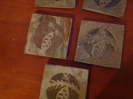 """Made in USA slate tile coaster engraved with pine cone  4"""" square felt feet image 3"""