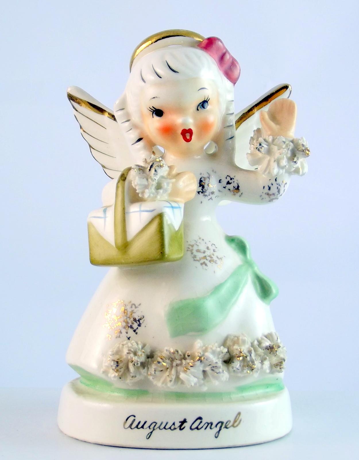 Vintage napco a1368sk august girl birthday angel 1